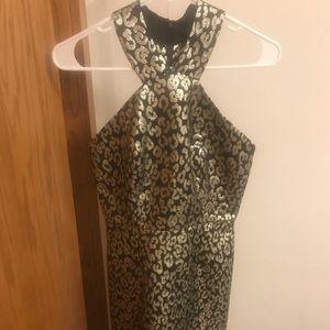 Jacquard Leopard Print  Flounce Dress